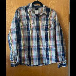 Patagonia button down roll sleeve plaid shirt 8